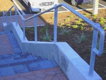 Galvanised handrail public facility steps