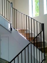 Internal stair case metal balustrade made in Christchurch by Metalcraft Engineering