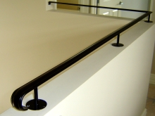 Internal handrail wall top mount classic iron style fabricated in Christchurch by Metalcraft Engineering