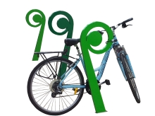 Metalcraft Engineering's New Zealand Kiwiana Koru Cycle Stand from the Functional Street Art Range In Use