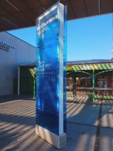 Entrance signage feature glass and metal display Kaiapoi civic centre Metalcraft Engineering