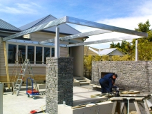 Metalcraft Engineering fabricate & install galvanised steel frame for courtyard area Christchurch