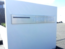 Architectural letter box bespoke design in stainless steel set into wall Christchurch Metalcraft Engineering