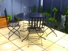 Metalcraft Engineering Outdoor furniture table and chair setting New Zealand made garden metalwork